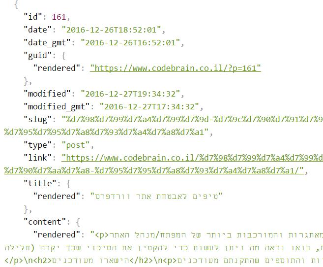 דוגמא לפלט של REST API