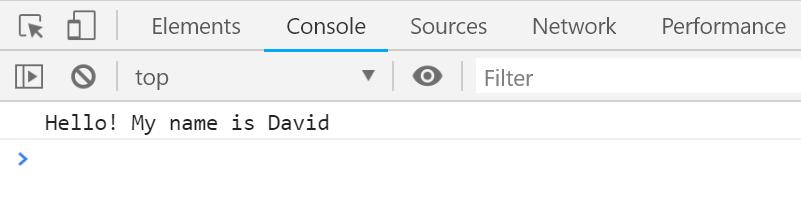 הפלט שיוצא מהפונקציה sayHello כאשר האובייקט david מועבר אליה.