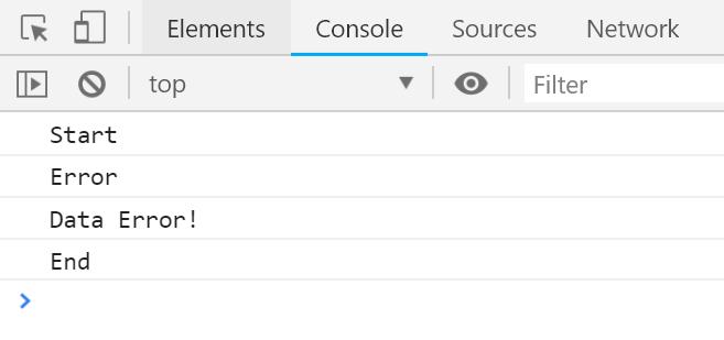 ניתן לראות את ה-name וה-message של האובייקט Error.