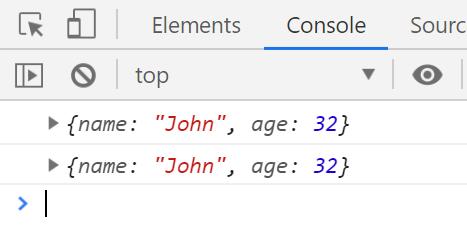 ניתן לראות שה-property בשם age שונה עבור שני האובייקטים.