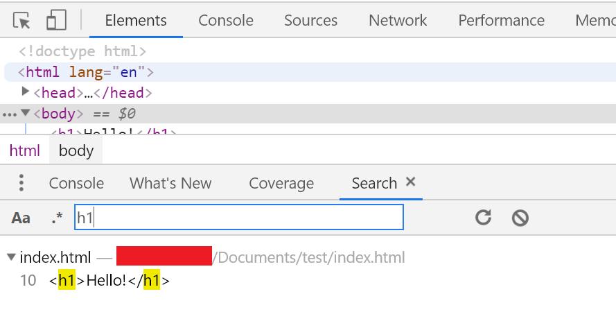 הפקודה Show Search מאפשרת לחפש ביטויים בקבצי האתר.